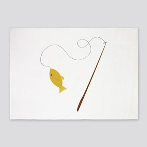 Fishing Pole 5'x7'Area Rug