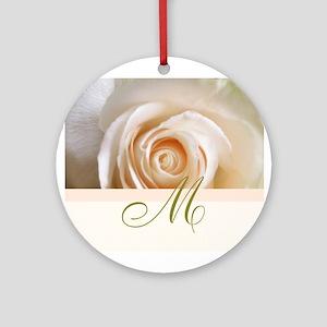 Elegant Rose and Monogram Design Ornament (Round)
