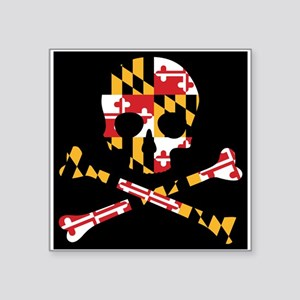 Maryland Flag Skull Black Sticker