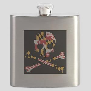 Maryland Flag Black Skull Flask
