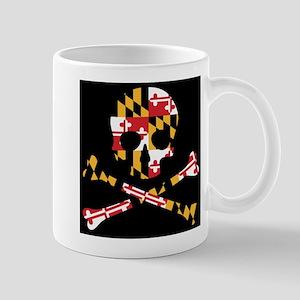 Maryland Flag Black Skull Mugs