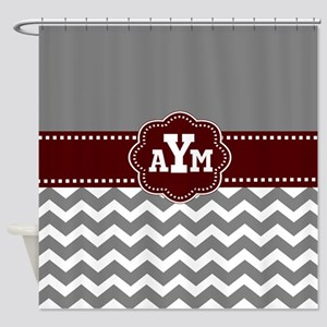 Gray Burgundy Chevron Monogram Shower Curtain