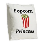 Popcorn Princess Burlap Throw Pillow