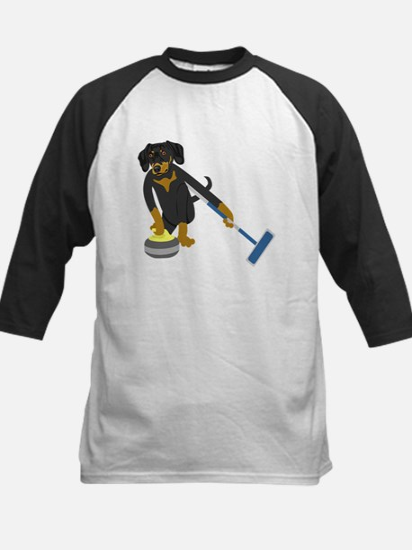 Dachshund Curling Kids Baseball Jersey