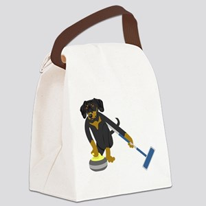 Dachshund Curling Canvas Lunch Bag