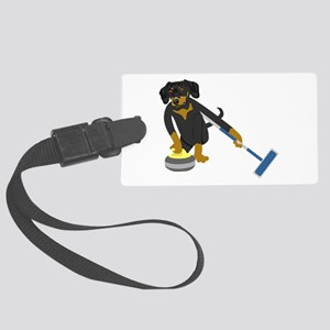 Dachshund Curling Large Luggage Tag