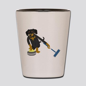 Dachshund Curling Shot Glass