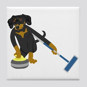 Dachshund Curling Tile Coaster