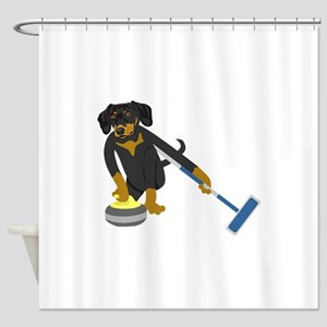 Dachshund Curling Shower Curtain