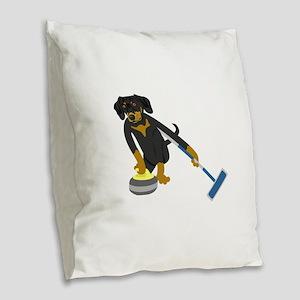 Dachshund Curling Burlap Throw Pillow