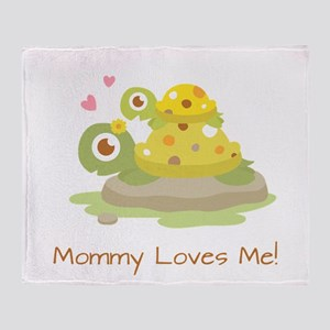 Cute Turtle Mommy and Child Throw Blanket