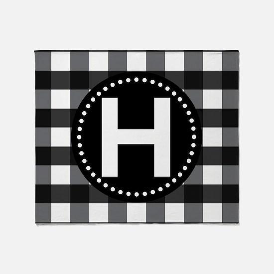 Letter H Monogram Gingham Throw Blanket