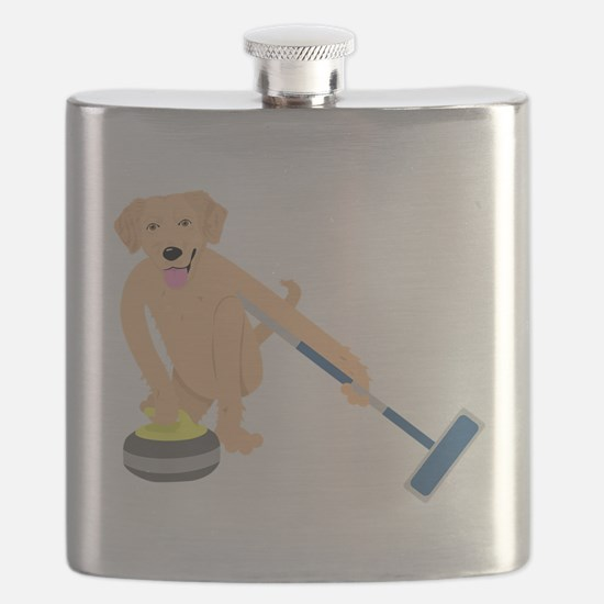 Golden Retriever Curling Flask