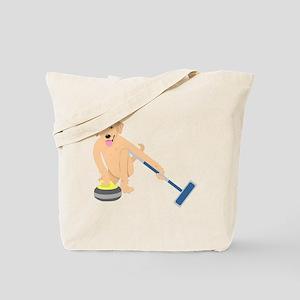Golden Retriever Curling Tote Bag