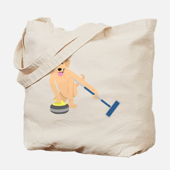 Golden Retriever Curling Tote Bag