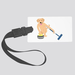 Golden Retriever Curling Large Luggage Tag