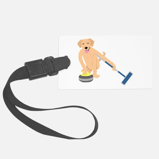 Golden Retriever Curling Luggage Tag