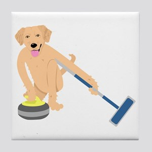 Golden Retriever Curling Tile Coaster