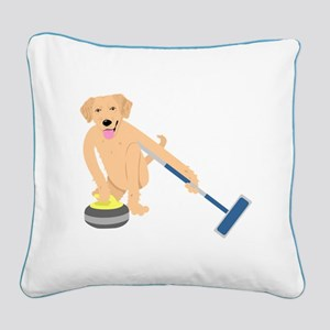 Golden Retriever Curling Square Canvas Pillow