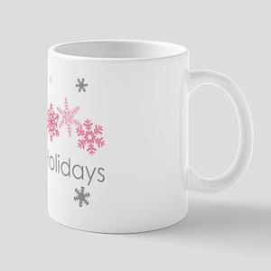 Pink Snkowflake Holidays Mugs