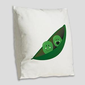 Two Peas Burlap Throw Pillow
