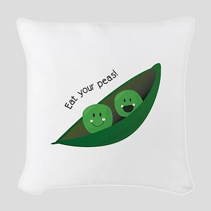 Eat Your Peas Woven Throw Pillow