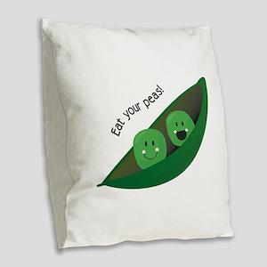 Eat Your Peas Burlap Throw Pillow