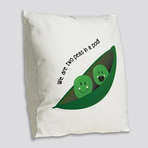 Two Peas in Pod Burlap Throw Pillow