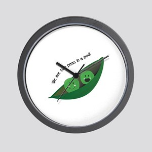 Two Peas in Pod Wall Clock