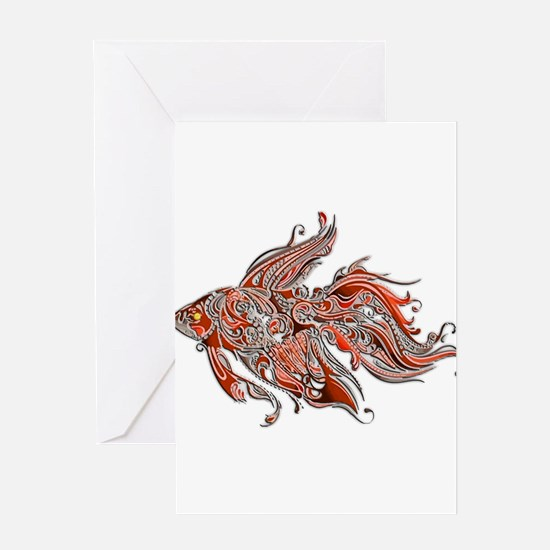 Orange and Rust Swirly Fantail Gold Greeting Cards