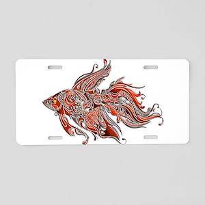 Orange and Rust Swirly Fant Aluminum License Plate