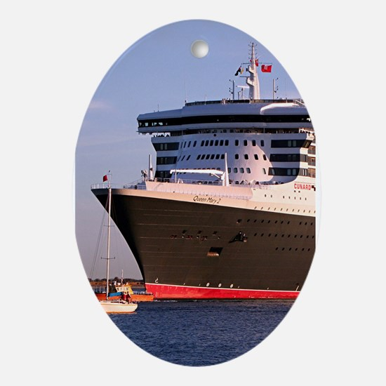 Cruise Ship 2: Queen Mary 2 Ornament (Oval)