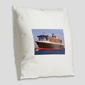 Cruise Ship 2: Queen Mary 2 Burlap Throw Pillow