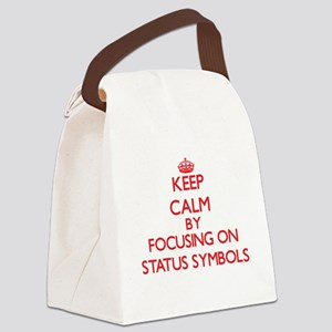 Keep Calm by focusing on Status S Canvas Lunch Bag