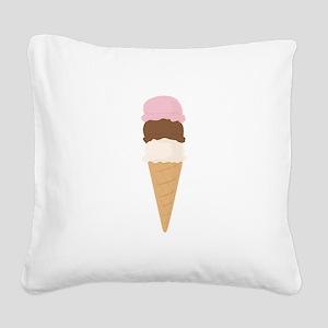 Ice Cream Cone Square Canvas Pillow