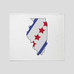 Illinois Map Throw Blanket
