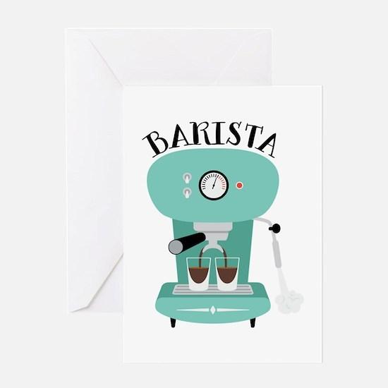 Coffee Machine Barista Greeting Cards