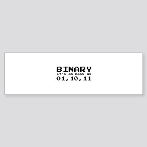 Binary It's As Easy As 01,10,11 Sticker (Bumper)