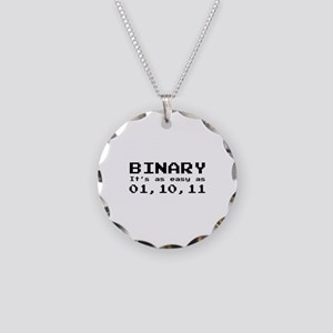 Binary It's As Easy As 01,10,11 Necklace Circle Ch