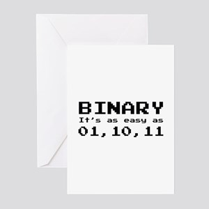 Binary It's As Easy As 01,10,11 Greeting Cards (Pk