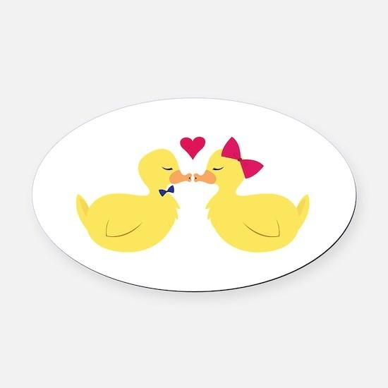 Kiss Ducks Oval Car Magnet