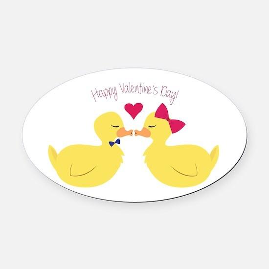 Valentines Ducks Oval Car Magnet