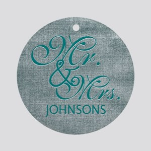 Personalized Mr. Mrs. Wedding Ornament (Round)
