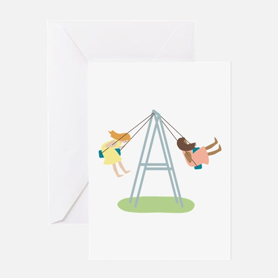Kids Playground Swing Set Greeting Cards