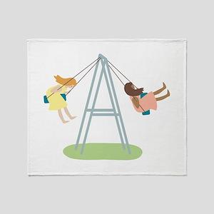 Kids Playground Swing Set Throw Blanket