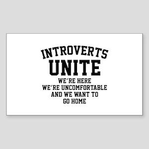 Introverts Unite Sticker (Rectangle)