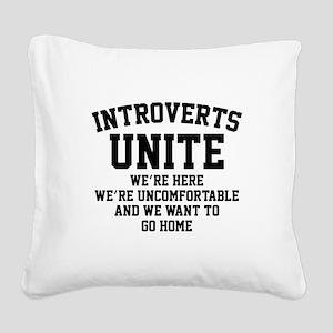 Introverts Unite Square Canvas Pillow