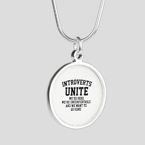 Introverts Unite Silver Round Necklace