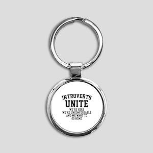 Introverts Unite Round Keychain
