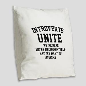 Introverts Unite Burlap Throw Pillow
